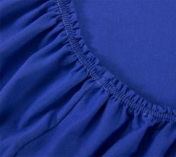 Купить синюю трикотажную простынь на резинке
